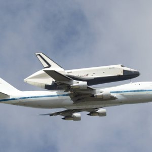 Space shuttle over New York